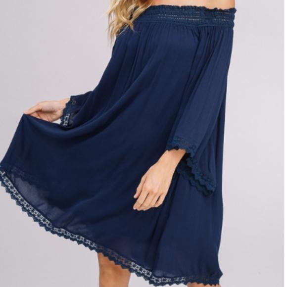 Dresses & Skirts - PLEATED ELASTIC LACE OFF SHOULDER DRESS